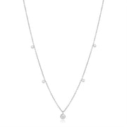 18K White Gold Round Diamond Station Necklace
