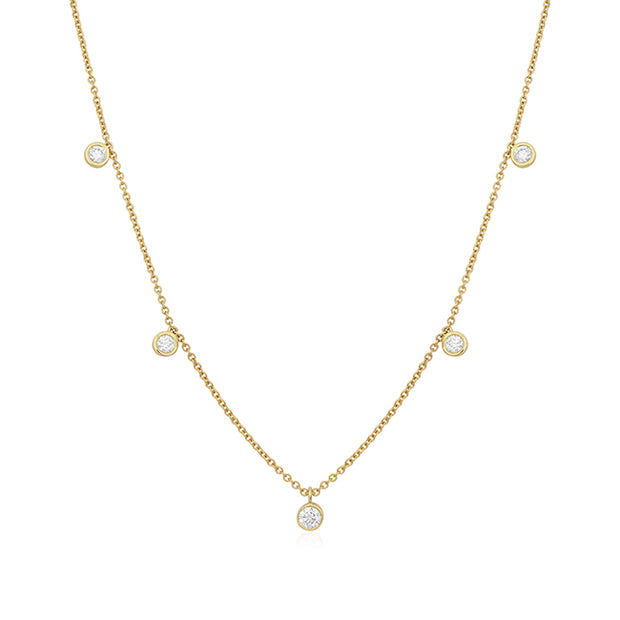 18K Yellow Gold Diamond Station Necklace