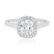 Rahaminov Diamonds Rahaminov 18K White Gold Forevermark Cushion Cut Diamond Halo Ring Top View