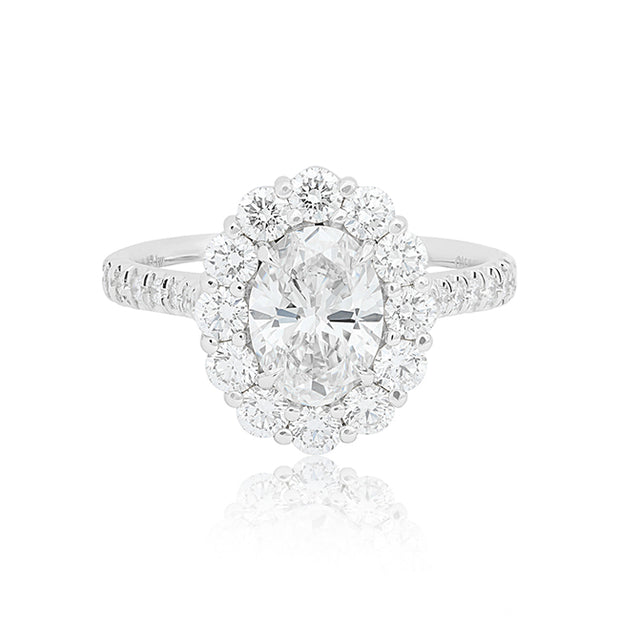 18K White Gold Oval Diamond Halo Ring
