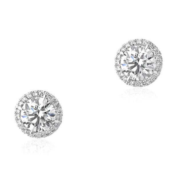 Rahaminov 18K White Gold Forevermark Diamond Halo Stud Earrings