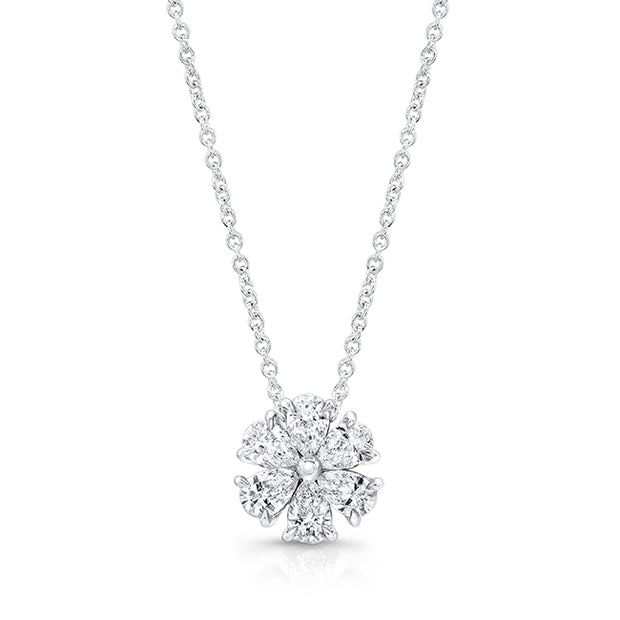 18K White Gold Necklace with a Diamond Pendant
