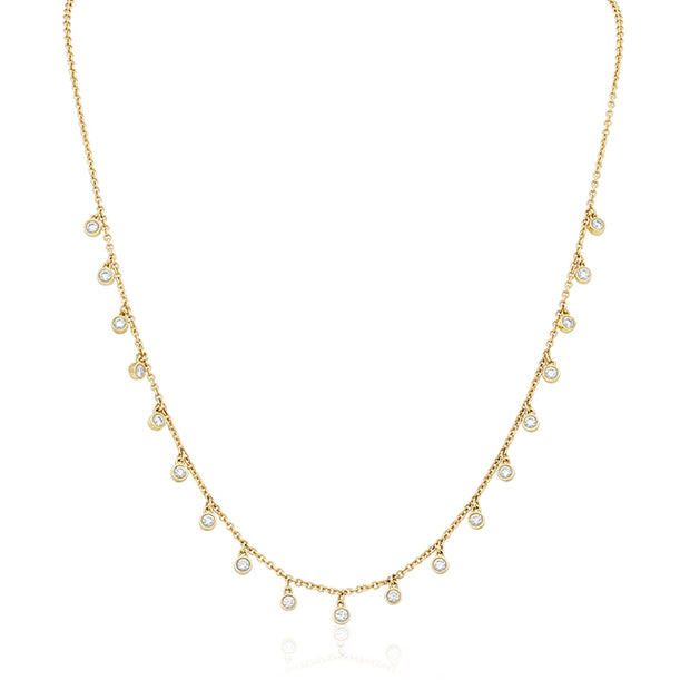 18K Yellow Gold Necklace with Diamond Stations