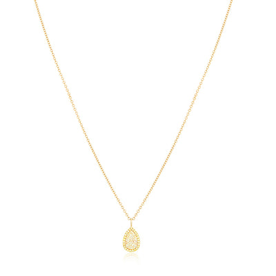 18K Yellow Gold Pear Shaped Yellow Diamond Necklace