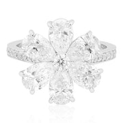 18K White Gold  Diamond Flower Ring