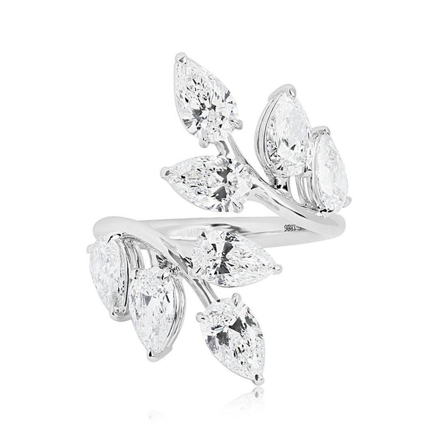 18K White Gold Leaf Bypass Ring with Pear Shaped Diamonds - TIVOL