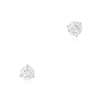 18K White Gold Diamond Prong Set Stud Earrings