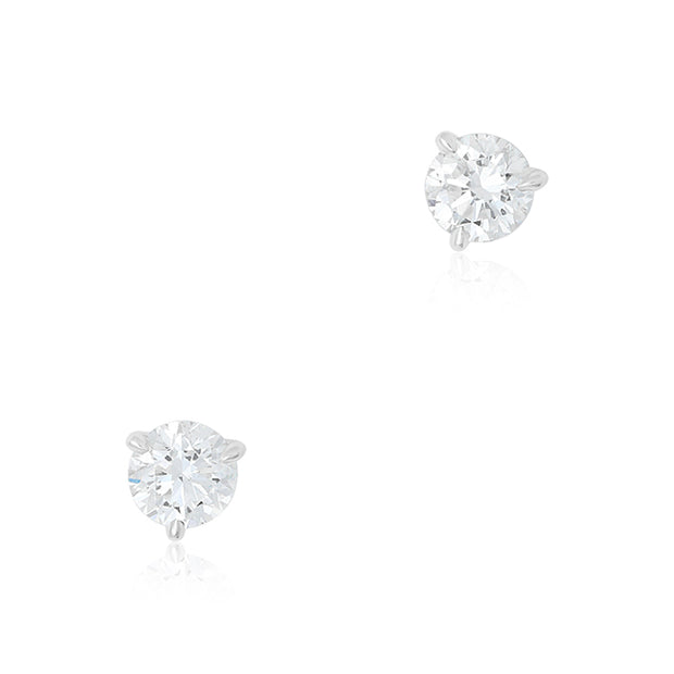 18K White Gold Prong Set Diamond Stud Earrings