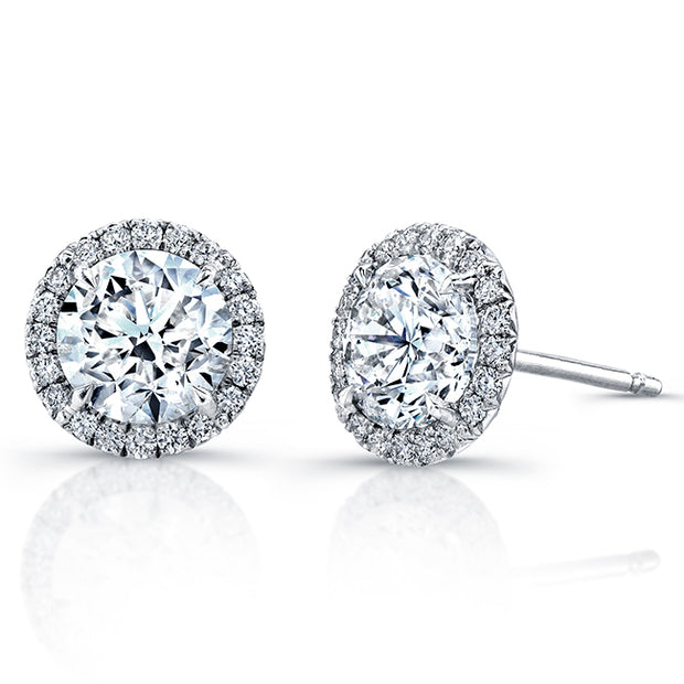 18K White Gold Diamond Halo Stud Earrings