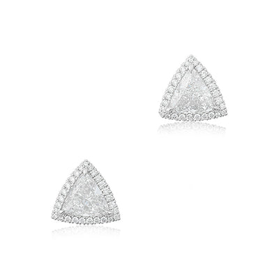 18K White Gold Triangle Diamond Halo Stud Earrings