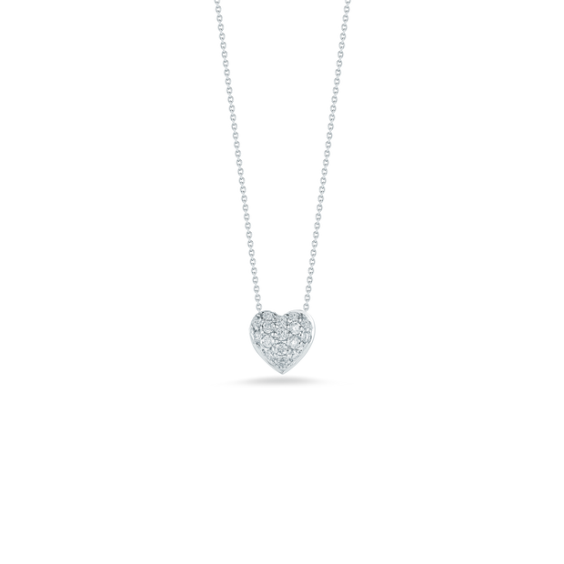 18K White Gold Puffed Heart Diamond Pendant Necklace