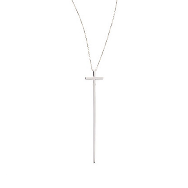 18K White Gold Elongated Cross Necklace