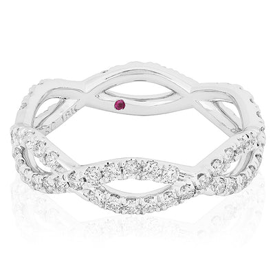 18K White Gold Braided Infinity Diamond Ring