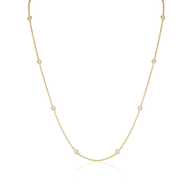 18K Yellow Gold Necklace With Nine Bezel Set Round Diamond Stations