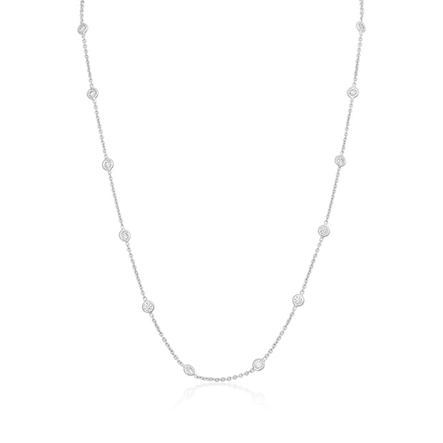 18K White Gold Diamond Station Necklace