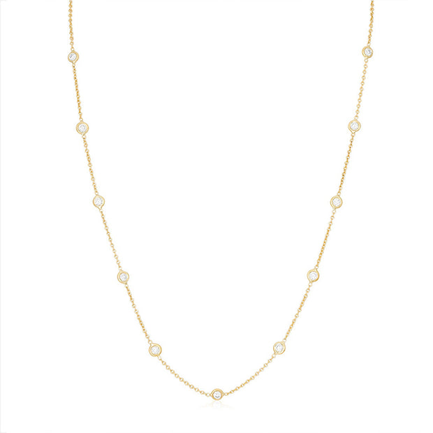18K Yellow Gold Necklace With 15 Bezel Set Round Diamond Stations