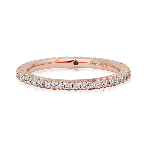18K Rose Gold Round Diamond Eternity Band