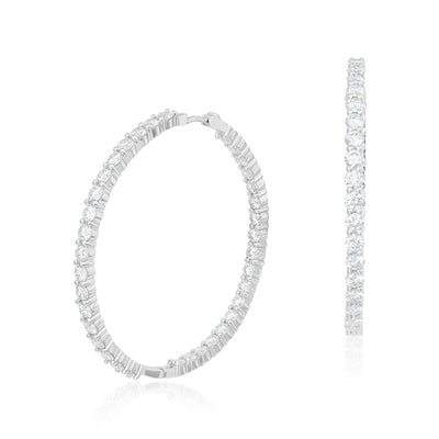 18K White Gold 46mm Inside Out Diamond Hoop Earrings