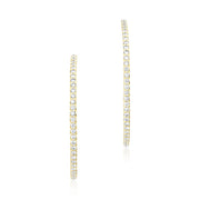 18K Yellow Gold 35mm Inside Out Diamond Hoop Earrings