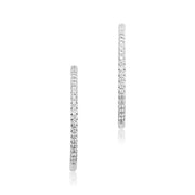 18K White Gold Inside Out Diamond Hoop Earrings