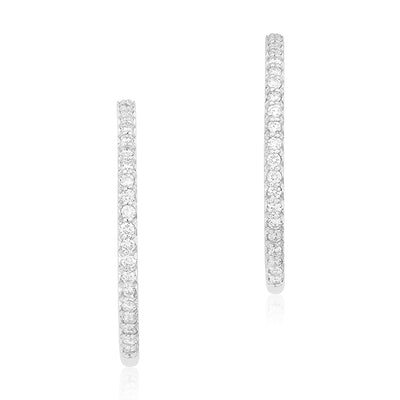 18K White Gold Inside Out Hoop Earrings