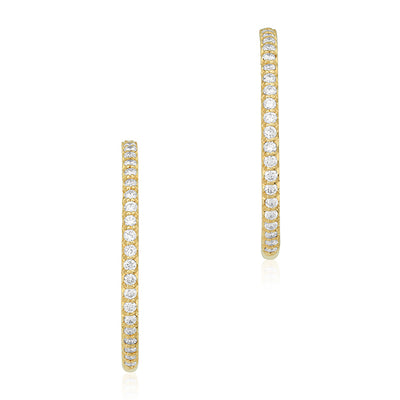 18K Yellow Gold 25mm Inside Out Diamond Hoop Earrings