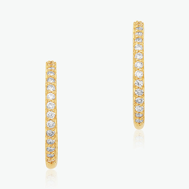 18K Yellow Gold 18mm Inside Out Diamond Hoop Earrings