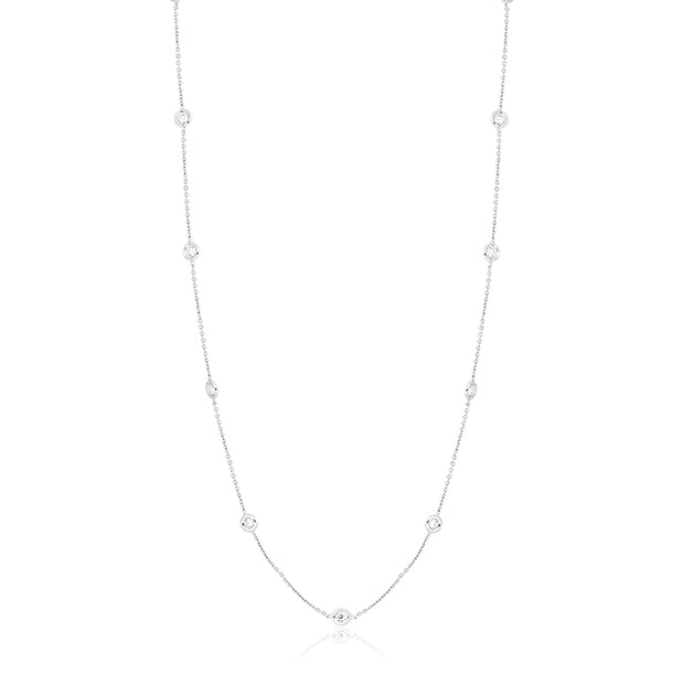 18K White Gold Necklace With 13 Bezel Set Round Diamond Stations On A 24in Chain