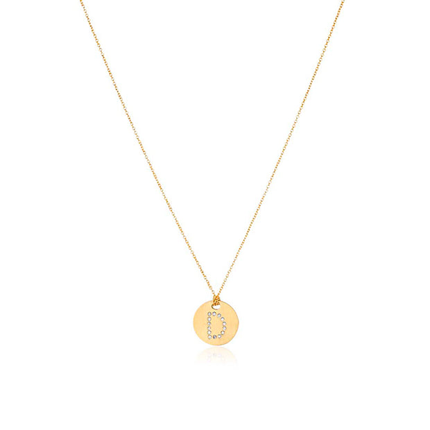 "Roberto Coin 18K Yellow Gold Tiny Treasures Diamond ""D"" Pendant"