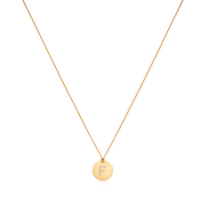 "18K Yellow Gold Tiny Treasures Diamond ""F"" Initial Pendant Necklace"