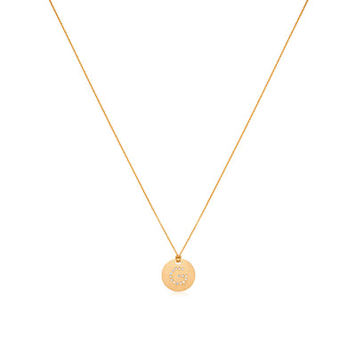 "18K Yellow Gold Tiny Treasures Diamond ""G"" Initial Pendant Necklace"