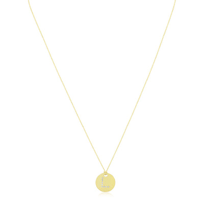 "18K Yellow Gold Tiny Treasures Diamond ""L"" Initial Pendant Necklace"