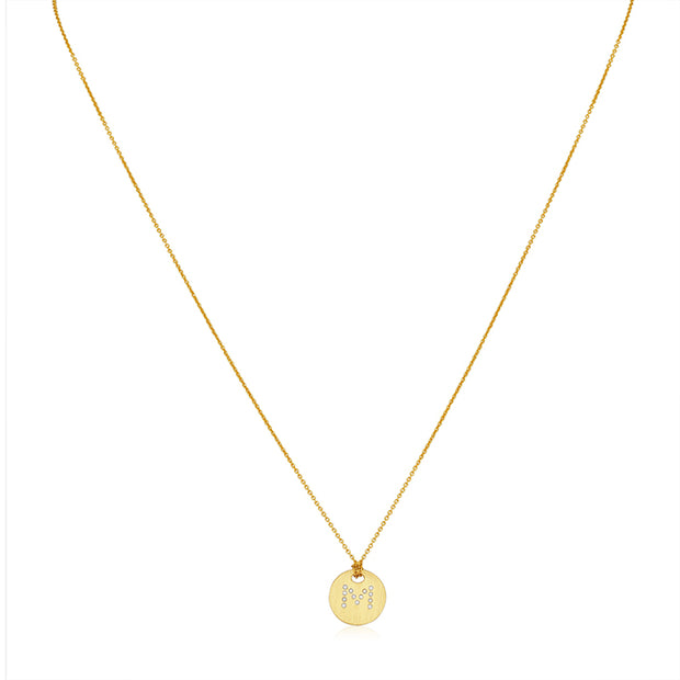 "18K Yellow Gold Tiny Treasures Diamond ""M"" Initial Pendant Necklace"