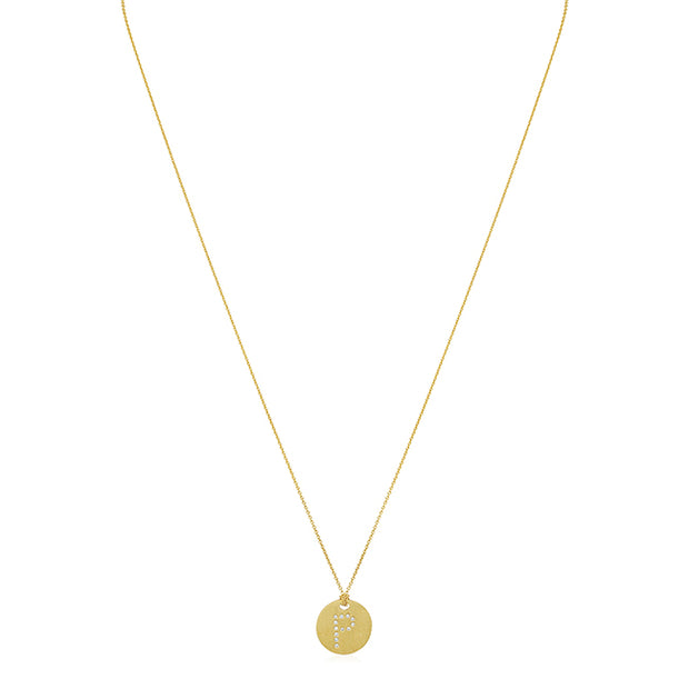 "Roberto Coin 18K Yellow Gold Tiny Treasures Diamond ""P"" Pendant"