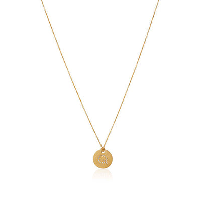 "18K Yellow Gold Tiny Treasures Diamond ""Q"" Initial Pendant Necklace"