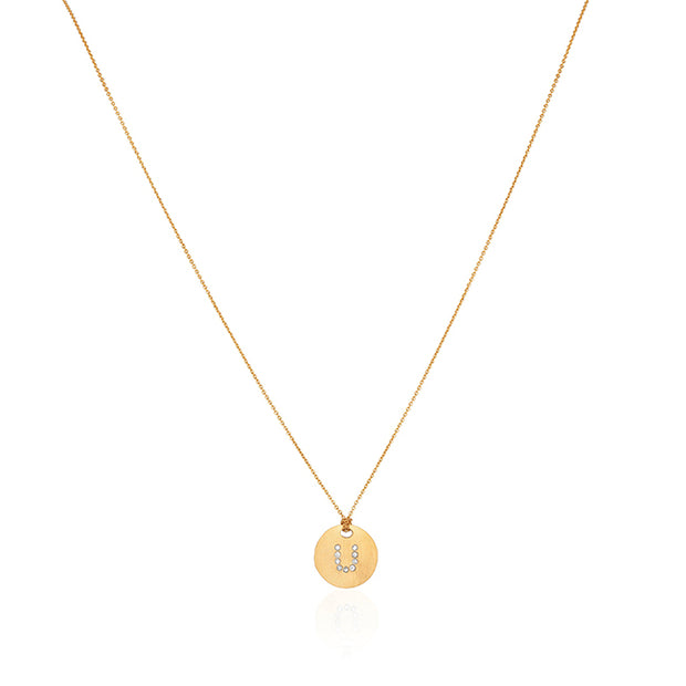 "18K Yellow Gold Tiny Treasures Diamond ""U"" Initial Pendant Necklace"