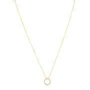 18K Yellow Gold Circle Diamond Pendant Necklace