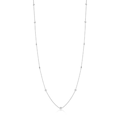 "18K White Gold 36"" Necklace with Round Diamond Stations"