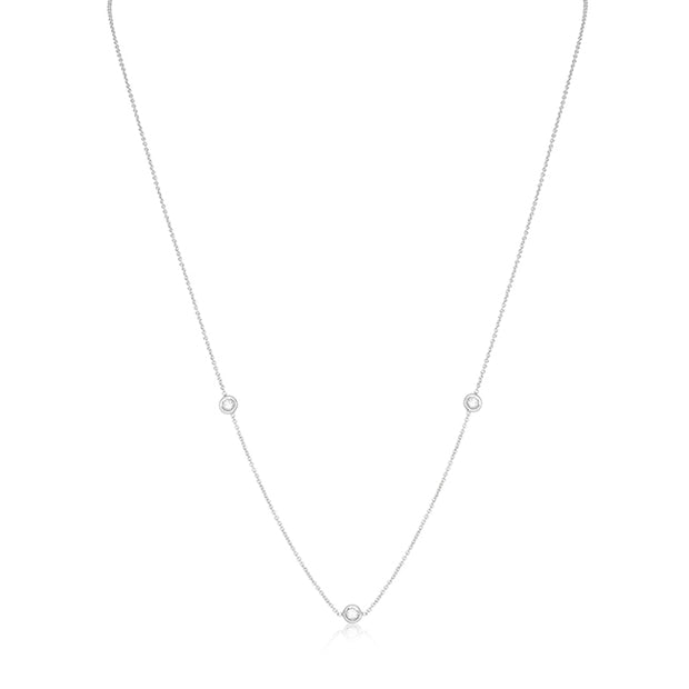 18K White Gold Necklace with Three Bezel Set Round Diamond Stations