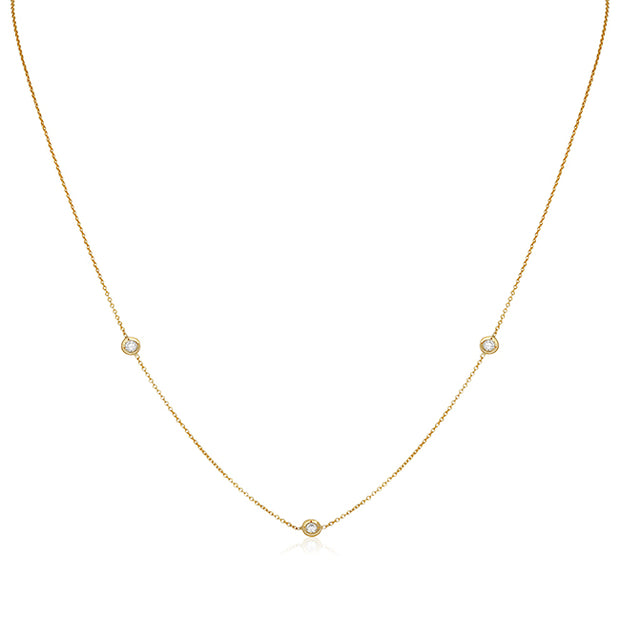 18K Yellow Gold Neckale with Three Round Diamond Stations