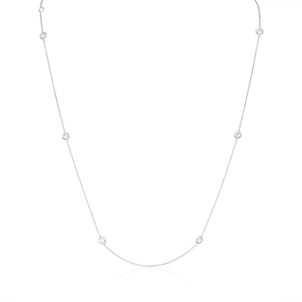 18K White Gold Necklace with Seven Round Diamond Stations