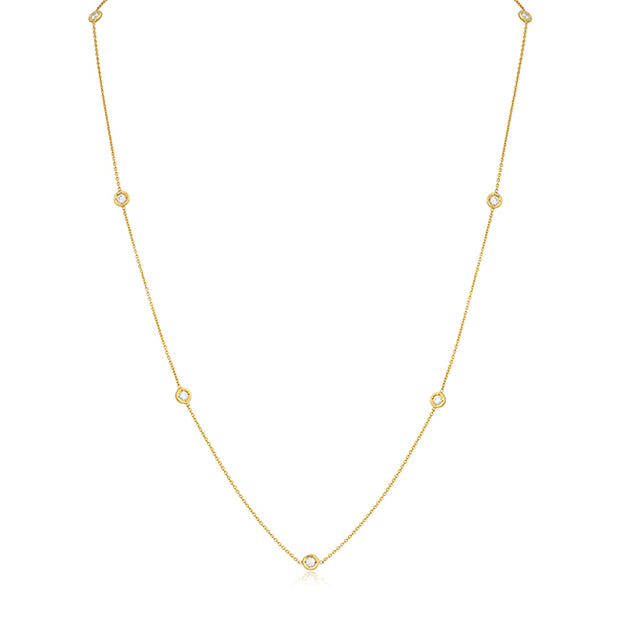 18K Yellow Gold Necklace with Seven Round Diamond Stations