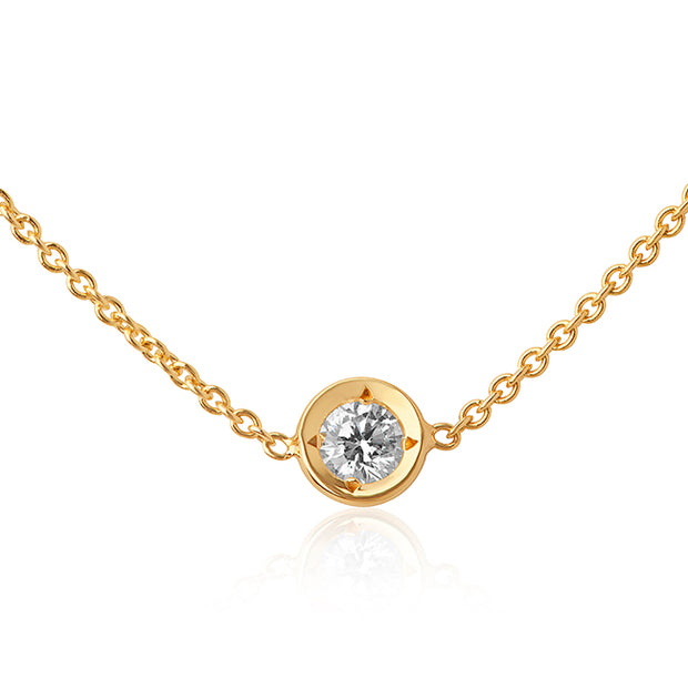 18K Yellow Gold Necklace With A Bezel Set Round Diamond