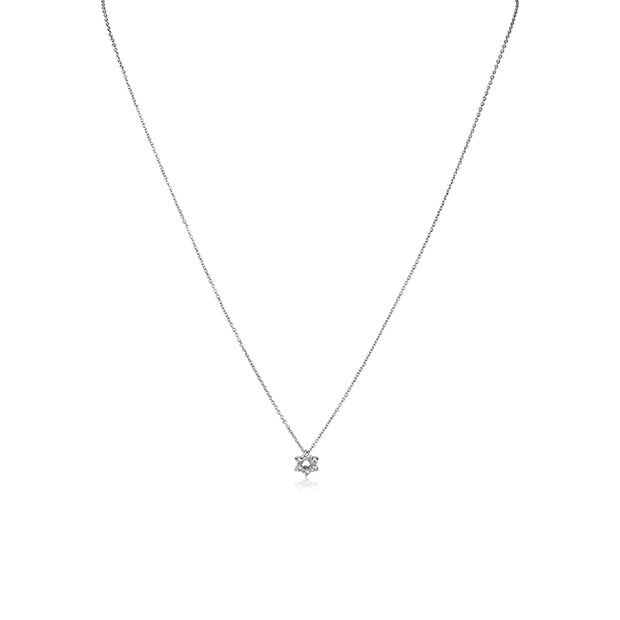 18K White Gold Tiny Treasures Diamond Star of David Pendant