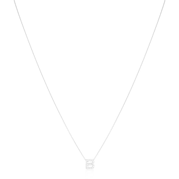 "18K White Gold Love Letter Collection Diamond ""B"" Initial Necklace"