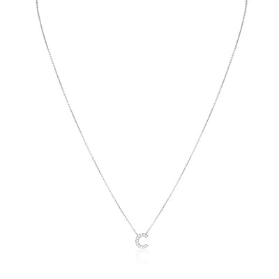 "18K White Gold Love Letter Collection Diamond ""C"" Initial Necklace"