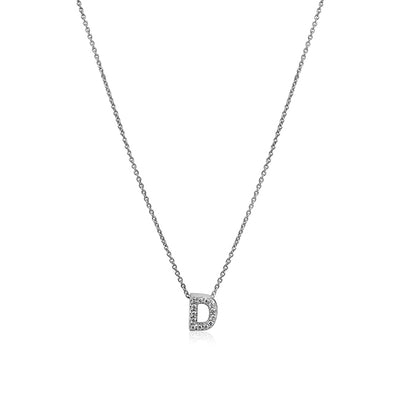 "18K White Gold Love Letter Collection Diamond ""D"" Initial Necklace"