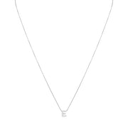 "18K White Gold Love Letter Collection Diamond ""E"" Initial Necklace"