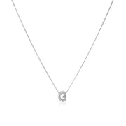 "18K White Gold Love Letter Collection Diamond ""G"" Initial Necklace"
