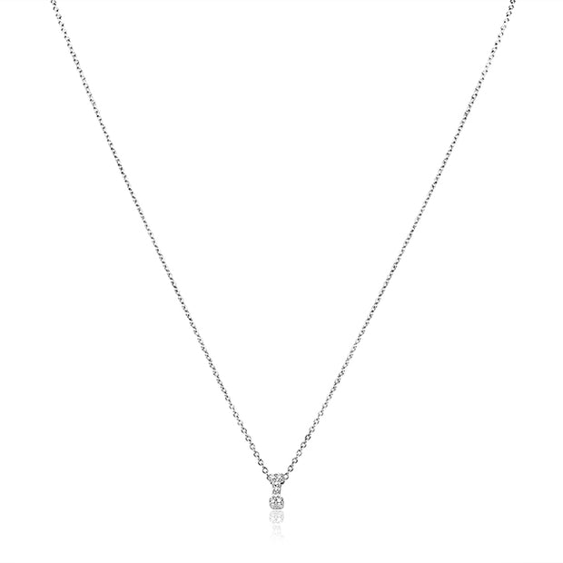 "18K White Gold Love Letter Collection Diamond ""I"" Initial Necklace"